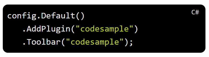 A code snippet with a label in the top right corner: C#