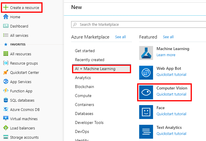 Creating an Computer Vision resource in Azure